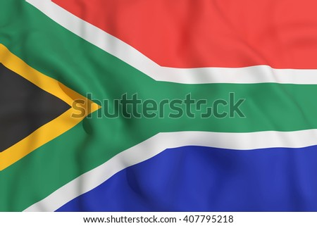 3d rendering of a South Africa flag waving