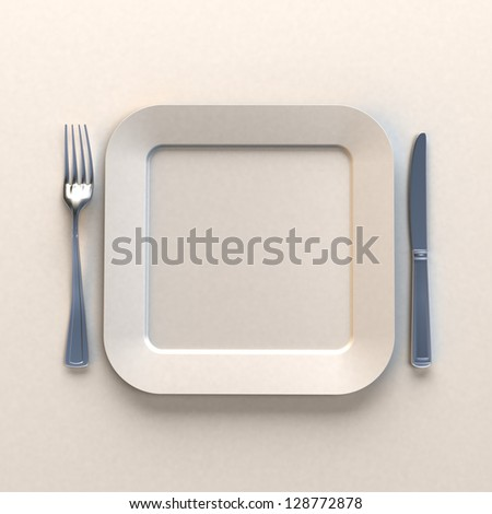 3D rendering of a squared white dish with knife and fork