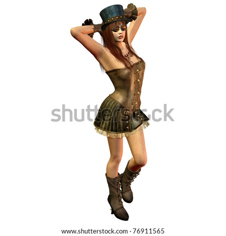 3d rendering of a steam punk model as an illustration - stock photo
