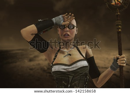 3D rendering of a Steampunk Woman with flashlight