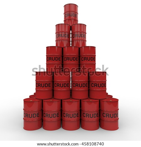3D rendering of a stock pile of red crude oil barrels on a white background