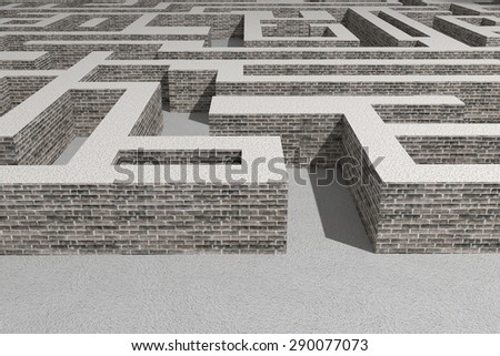 3d rendering of a stone bricks maze