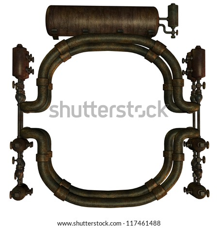 3D rendering of a structure made of pipes - stock photo