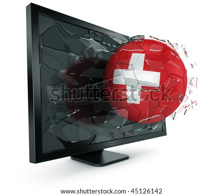 3d rendering of a Swiss soccerball breaking through monitor - stock photo