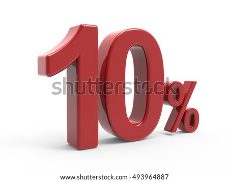 3d rendering of a 10% symbol, isolated on white background, left leaning