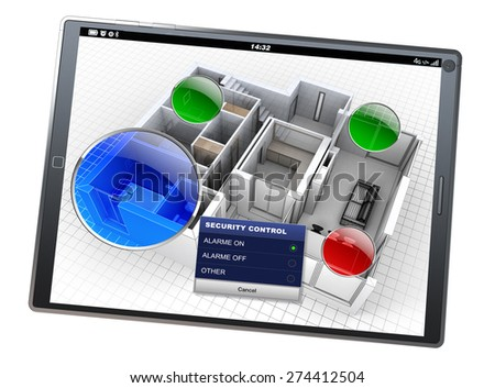 3D rendering of a tablet with a house monitoring app - stock photo