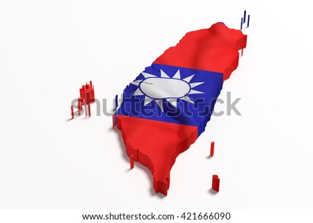 3d rendering of a Taiwan map with flag - stock photo