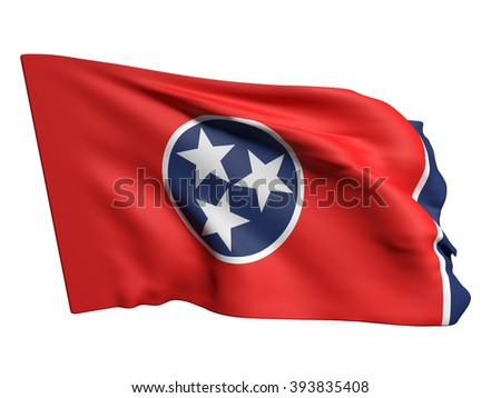 3d rendering of a Tennessee flag waving on a white background