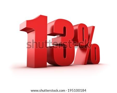 3D Rendering of a thirteen percent symbol - stock photo