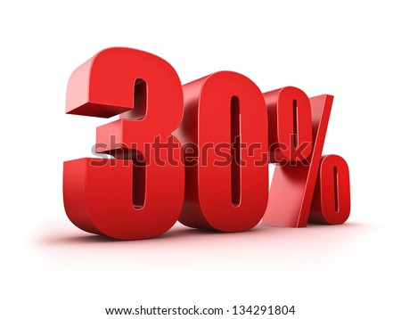 3D Rendering of a thirty percent symbol - stock photo