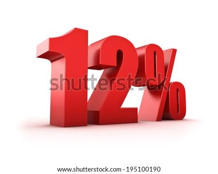 3D Rendering of a twelve percent symbol - stock photo