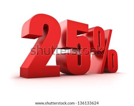 3D Rendering of a twenty-five percent symbol - stock photo
