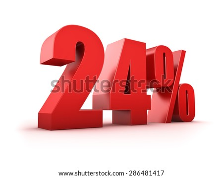 3D Rendering of a twentyfour percent symbol