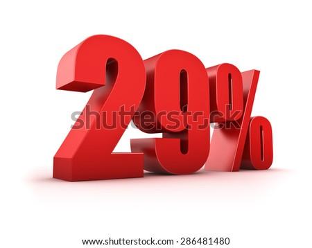3D Rendering of a twentynine percent symbol - stock photo