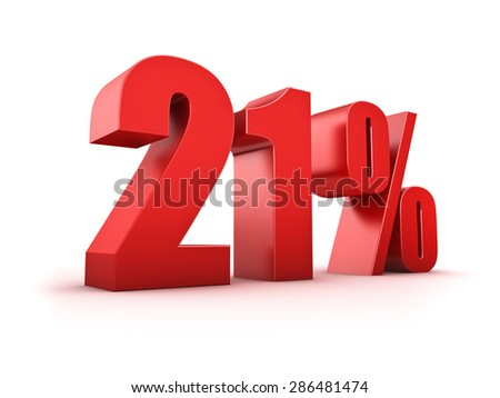 3D Rendering of a twentyone percent symbol