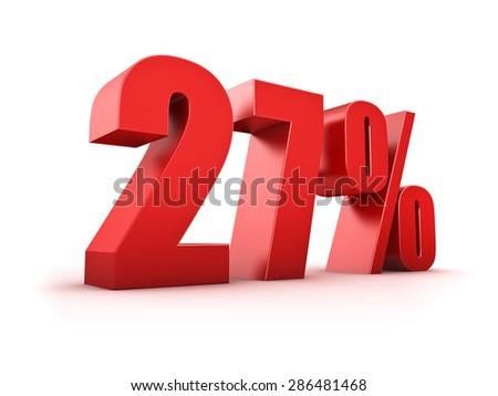 3D Rendering of a twentyseven percent symbol - stock photo
