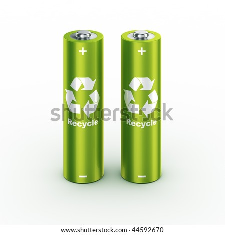 3d rendering of a two green batteries - stock photo
