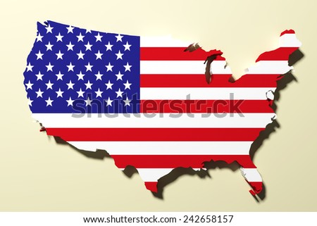 3d rendering of a United States map and a flag