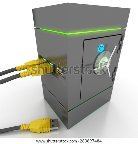 3D rendering of a usb cable connected to a strongbox containing electronic files - stock photo