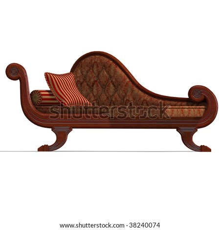 3D rendering of a very comfortable sofa from biedermeier time with clipping path and shadow over white