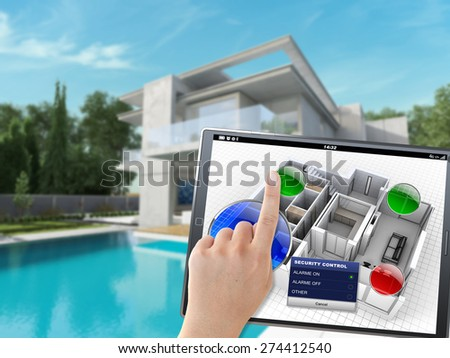 3D rendering of a villa being controlled remotely by a person with a mobile device - stock photo