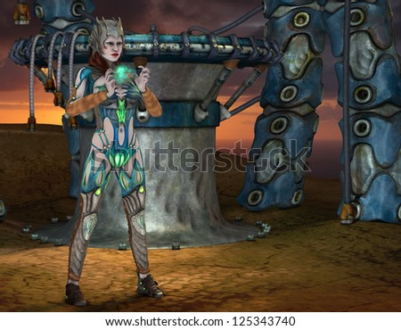 3D rendering of a warrior princess with magical element - stock photo
