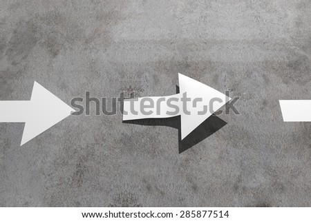 3d rendering of a white arrow shape lift off the road - stock photo