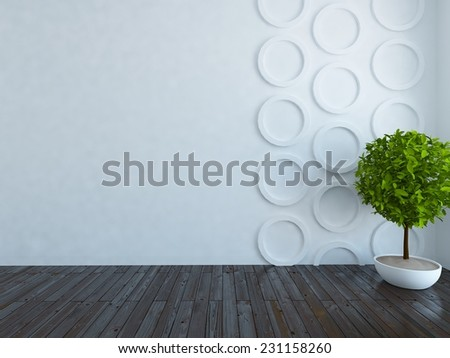 3D rendering of a white empty interior  - stock photo