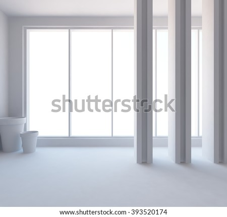 3D rendering of a white empty interior