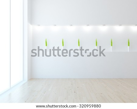 3d rendering of a white empty room. - stock photo