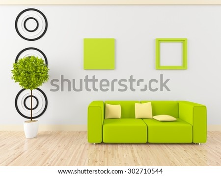 3d rendering of a white interior with green furniture