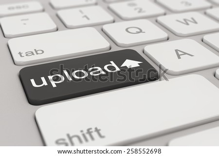 3d rendering of a white keyboard with black upload button, web concept. - stock photo