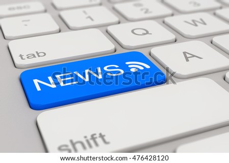 3d rendering of a white keyboard with blue news button, business concept.