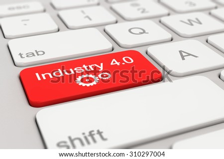3d rendering of a white keyboard with red industry 4.0 button, business concept.