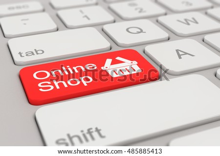 3d rendering of a white keyboard with red online shop button, business concept.
