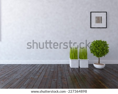 3D rendering of a white modern room - stock photo
