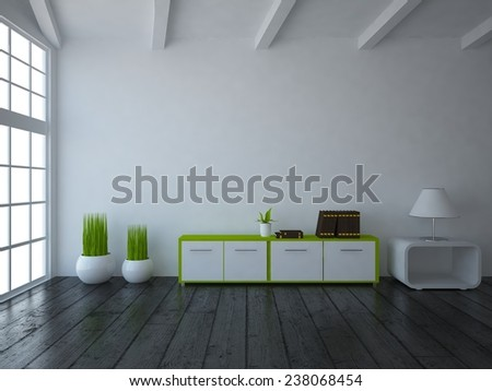 3D rendering of a white room - stock photo