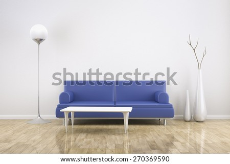 3D rendering of a white room with a blue sofa - stock photo
