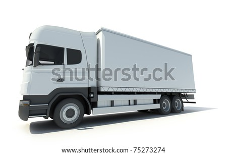 3D rendering of a white truck without brand