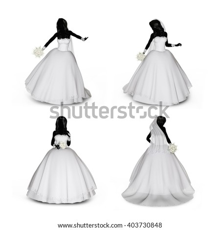 3d rendering of a woman in various poses in a wedding dress on a white isolated background. - stock photo