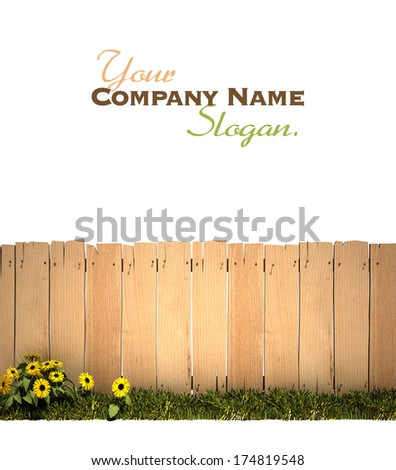 3D rendering of a wooden fence, green grass and lots of copy space, ideal for inserting a message or image - stock photo
