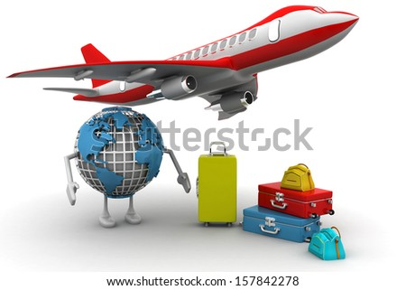 3D rendering of a world globe, an airplane with a high key pile of luggage - stock photo