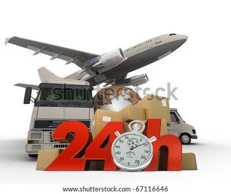 3D rendering of  a world map, packages a van, a truck and an airplane with the words 24 Hrs and a chronometer