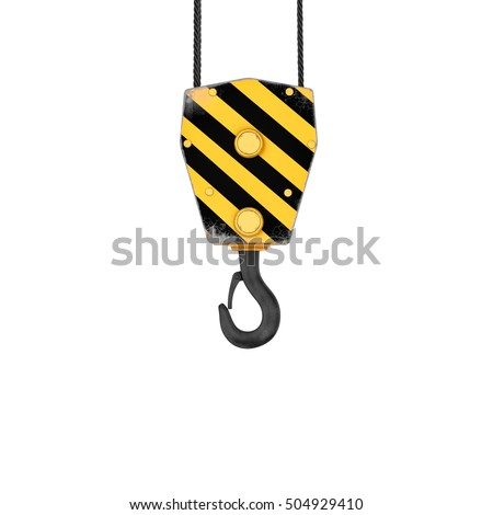 3D rendering of a yellow and black striped hook, isolated on a white background. Cargo crane hook. Construction tool. Hold the object. Keeping and raising.
