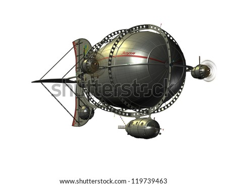 3D rendering of a Zeppelin airship from the front