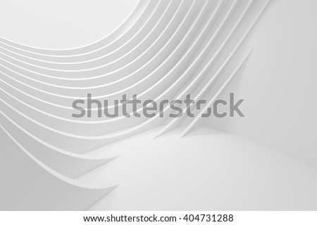 3d Rendering of Abstract Architecture Background. White Circular Building - stock photo