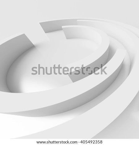 3d Rendering of Abstract Architecture Background. White Circular Design