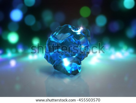 3d rendering of abstract crystal stone with Light bokeh background - stock photo