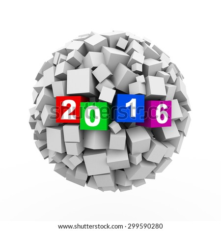3d rendering of abstract cubes ball sphere of happy new 2016 - stock photo
