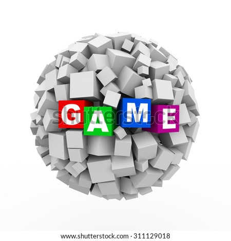 3d rendering of abstract cubes boxes sphere ball of word text game